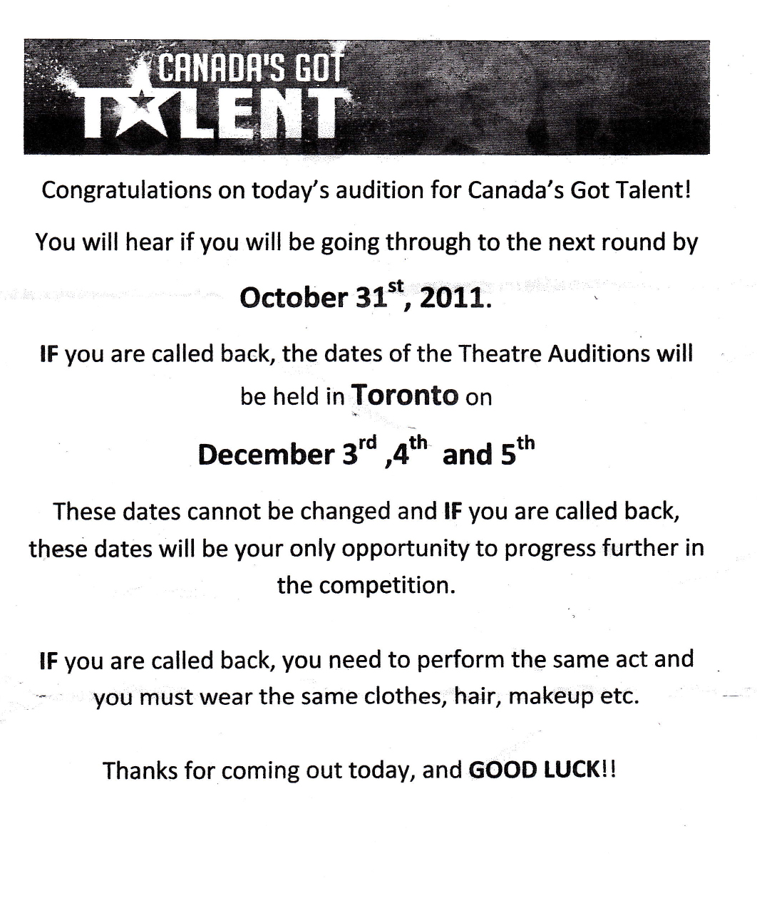 Canada's Got Talent Audition Certificate (2011 season)