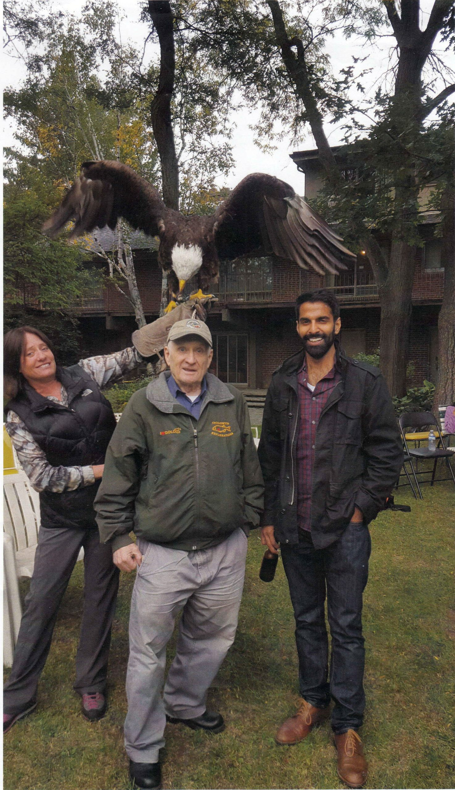 Eagle over the head of Max Juby, in backyard of John Patrick Sheridan residence